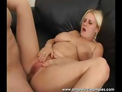 Chubby blonde with floppy tits eats hard cock and gets nailed