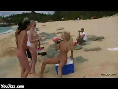 Amazing Babes Naked On Beach Drinking Beer And Fucking Each Others