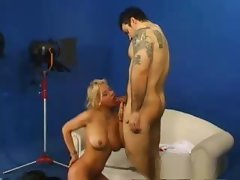 Busty blonde babe in casting gives head and then gets nailed