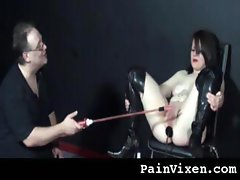 Turbulent business girl with a first-rate bush gets some punishment from her master
