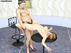 3D animated lesbians are doing some acrobatic licking and toying