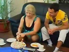 Chubby mature Russian blonde eats his rod and gets nailed