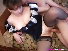 Brunette housewife sucks on his rod and then gets banged for mouthful