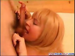Blonde Russian mom seduces a young stud and gets nailed and blows