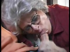 Gray haired lady catches dude wanking and blows him and gets fucked