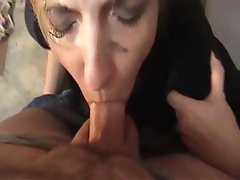 Homeless woman sleeping under cardboard gets roused for a violent blowjob