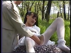 Hairy Girl In Stockings Gets Fucked Outside