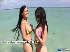 Valerie and Diamond Kitty _ Two babes showing her tits and ass in public
