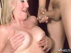 Busty blonde Sumeran Winters blows his rod and then fucks for cumshot