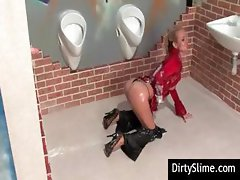 Decent bitch with an unjust lady flower enjoys a glory hole cock in the restroom