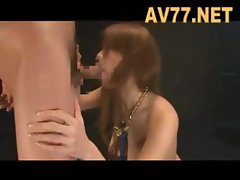 Asian sex slave gets drilled and then sucks him off and goes in cage