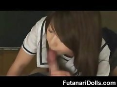Futanari Cums all Over Herself!