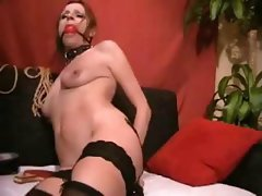 Exceptional bitch with a welcoming lady flower gets some training from her master