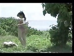 Compilation of a young Asian cutie masturbating, naked outdoors and getting banged