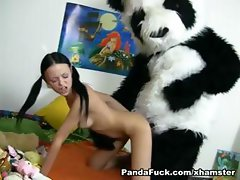 Noteworthy foxy with a favorable minge gets screwed by a Panda