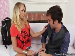 Sexy Blonde Britney Young blackmails friends husband into fucking her