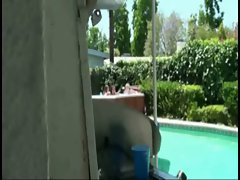 Three girls in jacuzzi spied on and they invite him to join