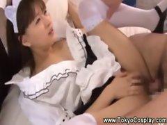 Shy asian maid hates getting banged