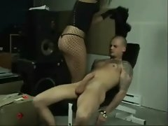 Hot blonde blows her tied up bf and spits cum in his face