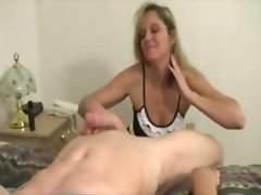 Sexy mature milf pulls cock for guy and loves it