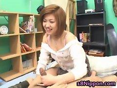 Hot asian teen jerks off her boyfriend
