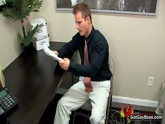 Pretty guys suck and fuck in office gay video