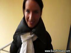 Hot euro babe flashing pussy for cash