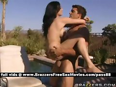 Superb naked brunette girl outside near a pool gets her wet pussy fucked