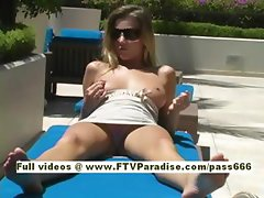 Carli teen blonde girl walking through shopping mall