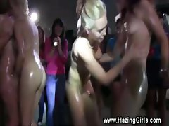 Lesbian teens get hot in warehouse for initiation