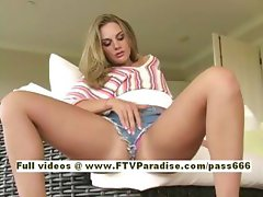 Brianna lovely blonde girl at home on the sofa