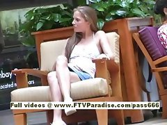 Emma lovely blonde girl goes into a shopping mall
