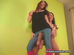 Two sexy brunette teen babes love making part6