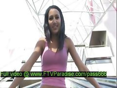 Ileana amazing brunette girl walkin in a shopping mall