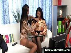 Erotic glam office lesbians get naughty and dirty
