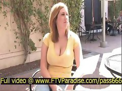 Candace awesome teen blonde girl outside a restaurant