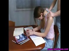 Pigtailed brunette teen gets her shoulders rubbed before they get it on