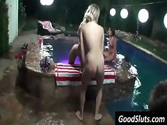 Cute blonde party girl gets drilled and eats cock by pool