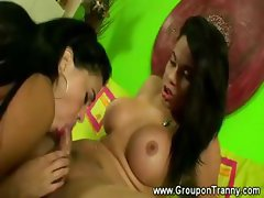 Huge tanned booty gets tranny fucked