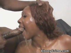 Dirty Black Ghetto Trash Chokes On Big Dark Cock