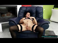 Granny with high heels and black stockings