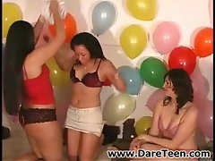 Sexy teens are playing Truth or Dare and getting naked and kissing