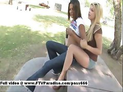 Lilah amazing brunette girl outside with her girlfriend