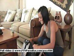 Jamee teen brunette girl talking on the floor