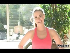 Fit teen babe showing her workout in her part3