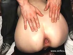 Brutal anal fisting and wine bottle fuck