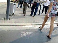 miniskirt public legs 5