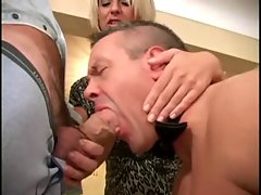 Husband-slave is sucking a friend of his wife