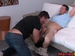 Hairy dude gets his hard gay penus part3