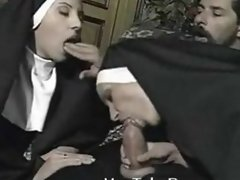 Horny nuns getting fucked by a priest - TubeSensations.com